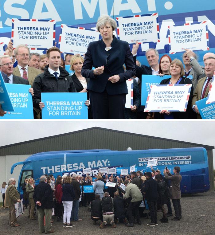 Лидерът на британските консерватори Тереза Мей повежда кампания в Нортъмбърленд.