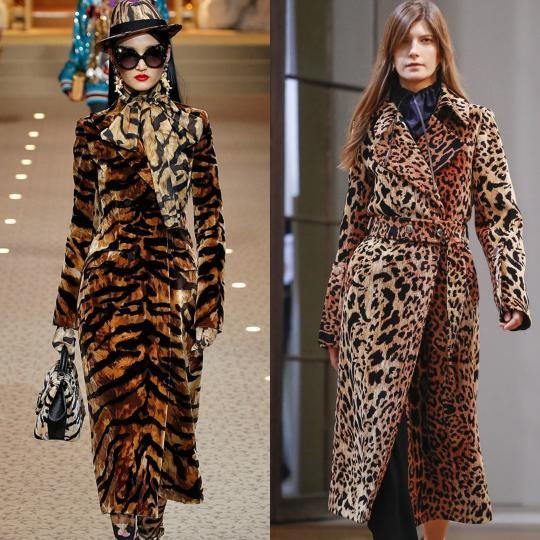 <p><b>Животински принт</b><br /> След няколко сезона, в които бяха слезли от върха, животните отново превзеха модната сцена. Тигровите и леопардовите шарки в оригиналните им природни окраски се завръщат в пълния си блясък.</p>  <p>&nbsp;</p>  <p><i>Dolce&amp;Gabbana, Victoria Beckham</i><br /> &nbsp;</p>
