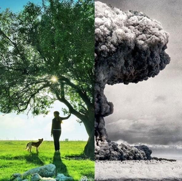 Турският художник Уджур Галлен фотографира и съпоставя в един кадър различното между развитите страни и онези, разрушени от конфликтите в тях