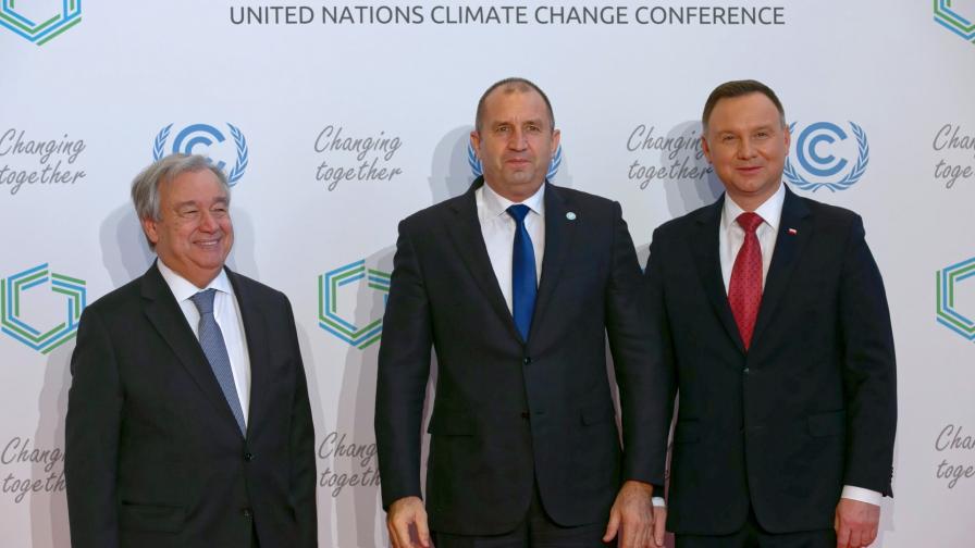 Генералният секретар на ООН Антонио Гутериш, българският президент Румен Радев и полският му колега Анджей Дуда