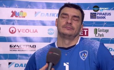 Владо Николов и Мирослав Живков след победата на ВК Левски над ВК Пирин