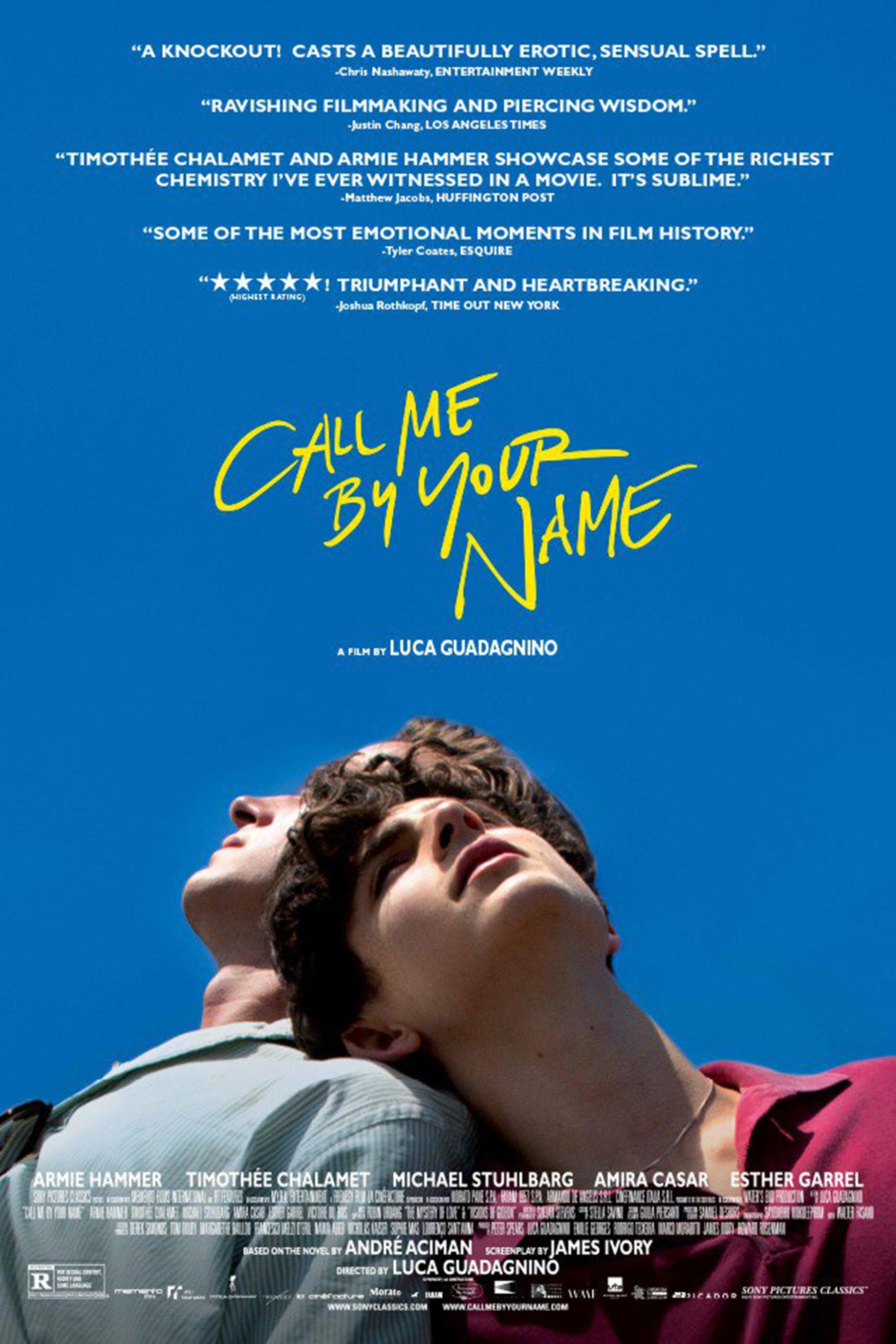 "4. Call Me by Your Name / ""Призови ме с твоето име"" (2017) – Режисьор: Лука Гуаданино; Участват: Арми Хамър, Тимъти Шаламе"