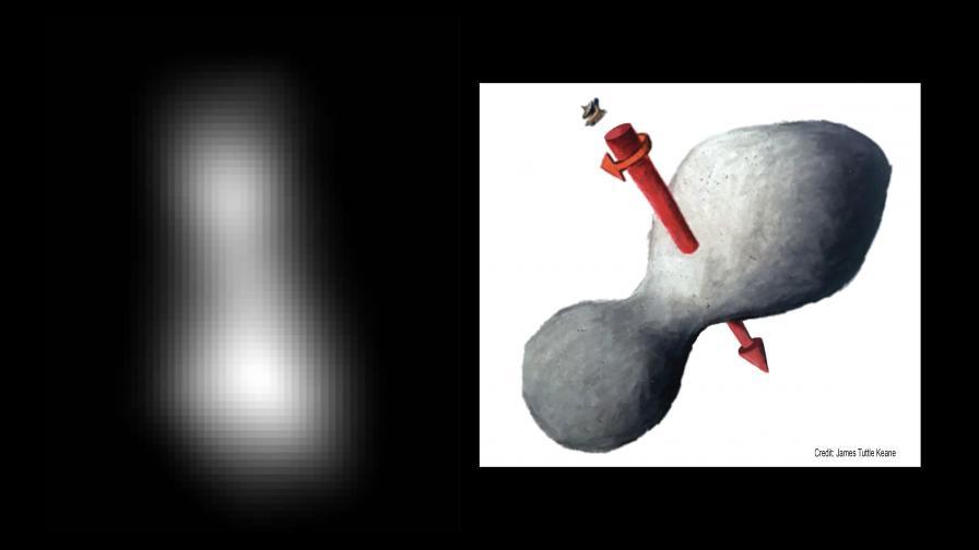 Първата реална снимка на Ultima Thule и илюстрация на нейния преполагаем вид и индикатор за посоката на въртене