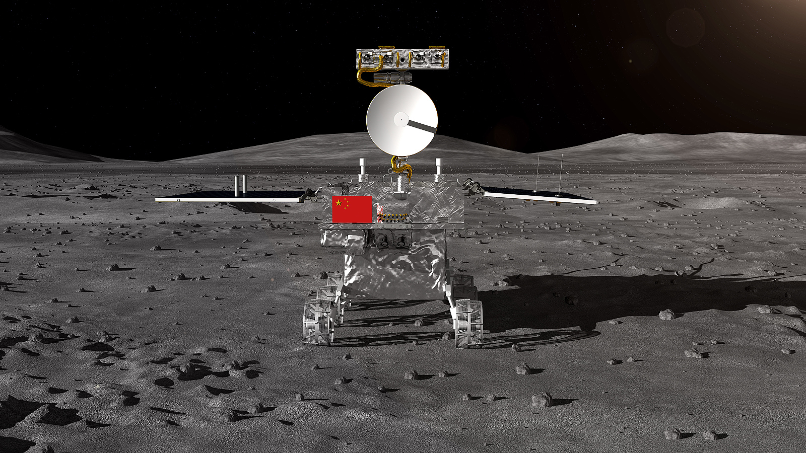 Фотографска снимка, предоставена от Центъра за проучване и космическо инженерство на Луната на Китайската национална космическа администрация (CNSA) на 2 януари 2019 г., показва как трябва да се прилуни лунната сонда на Китай Chang'e-4.