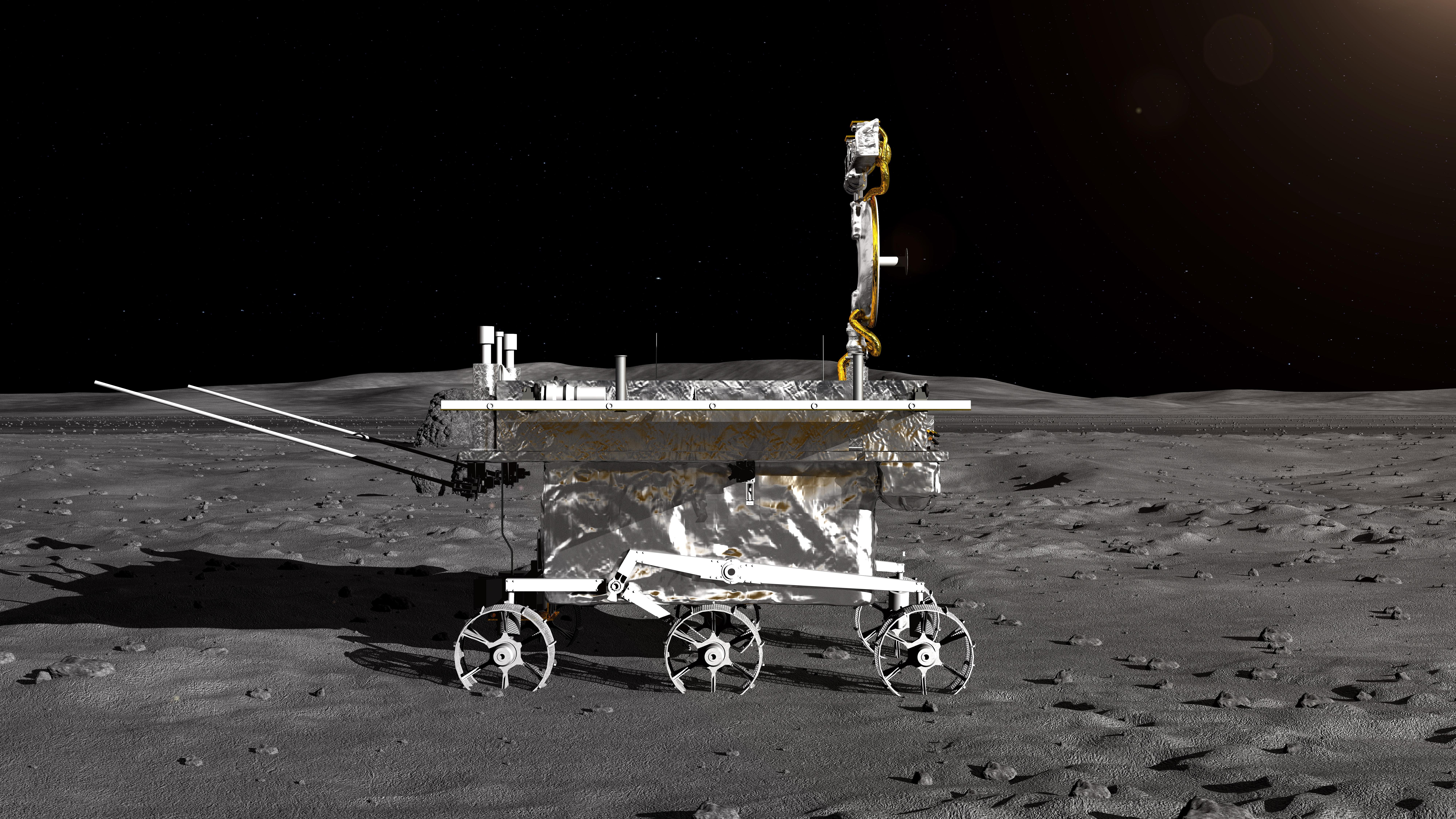 """Снимки, предоставени от Китайската национална космическа администрация, илюстрират как би изглеждало кацането на космическия апарат """"Чанъе-4"""" на повърхността на Луната"""