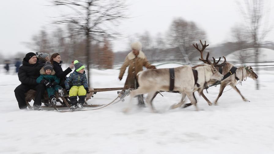 Московчани се забавляват в зимен ден в Парк Царицино, в южната част на Москва, Русия