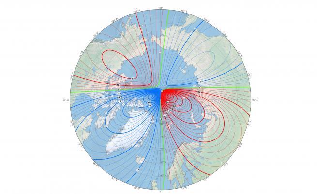 Местоположението на северния магнитен полюс към началото на 2019 г.