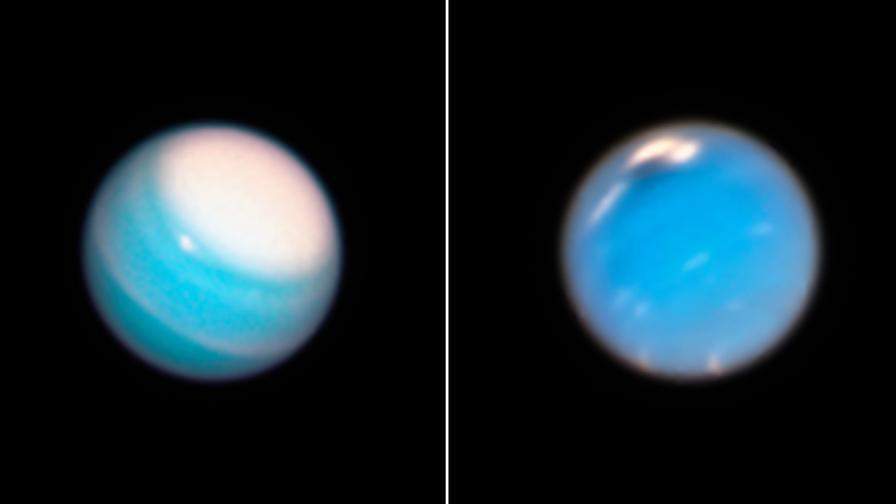 """Уран (вляво) и Нептун, снимани от телескопа """"Хъбъл""""."""