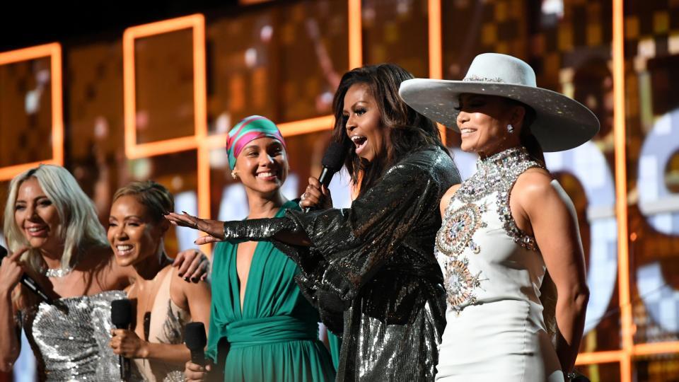 """Големите победители на наградите """"Грами"""": какво събра Мишел Обама, Джей Ло, Лейди Гага, Алиша Кийс и Джейда Пинкет Смит на една сцена"""