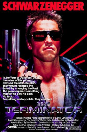"The Terminator / ""Терминатор"" (1984) – Режисьор: Джеймс Камерън; Участват: Арнолд Шварценегер, Майкъл Бийн, Линда Хамилтън."