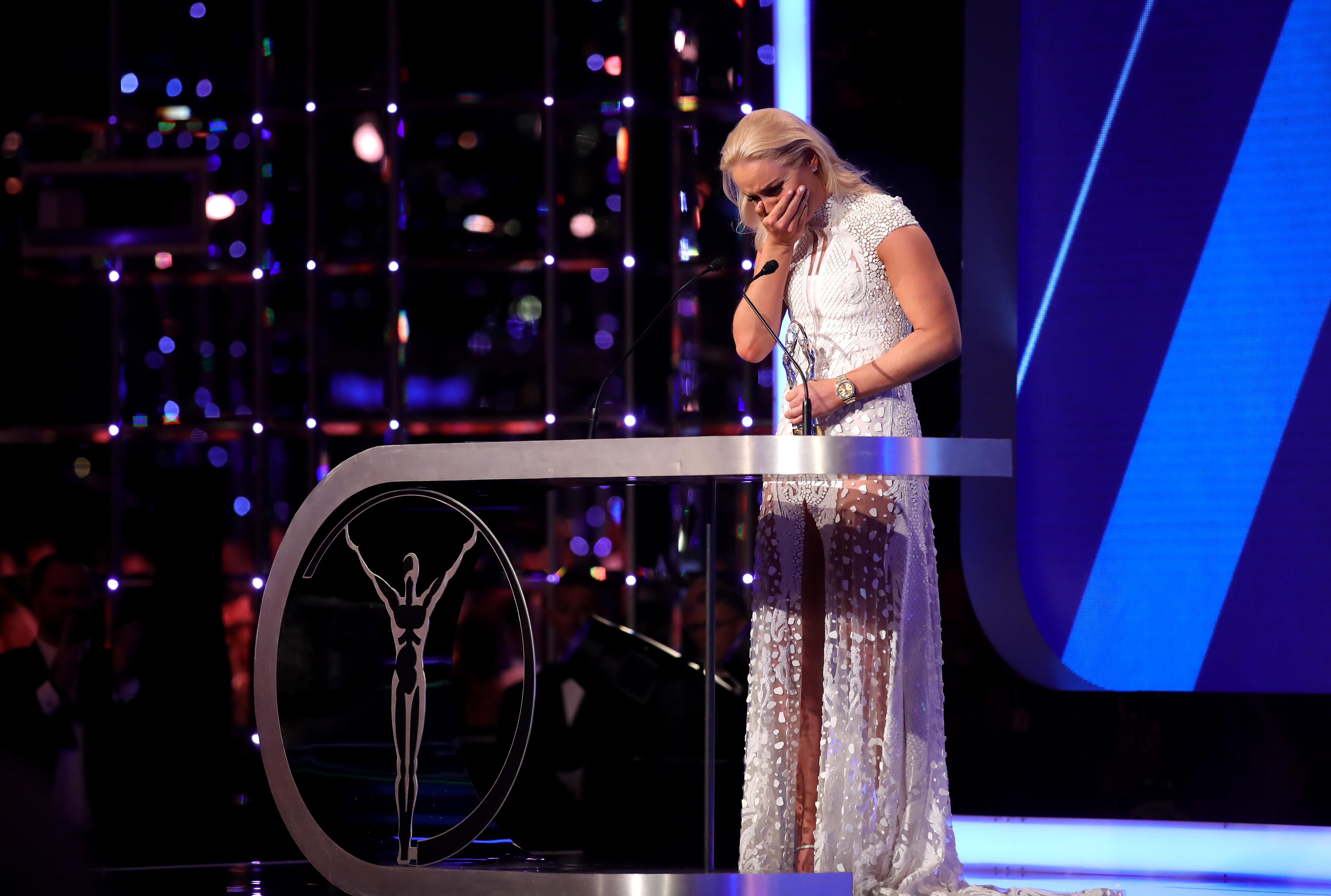 """Линдзи Вон разчувствана на сцената на спортните """"Оскари"""""""