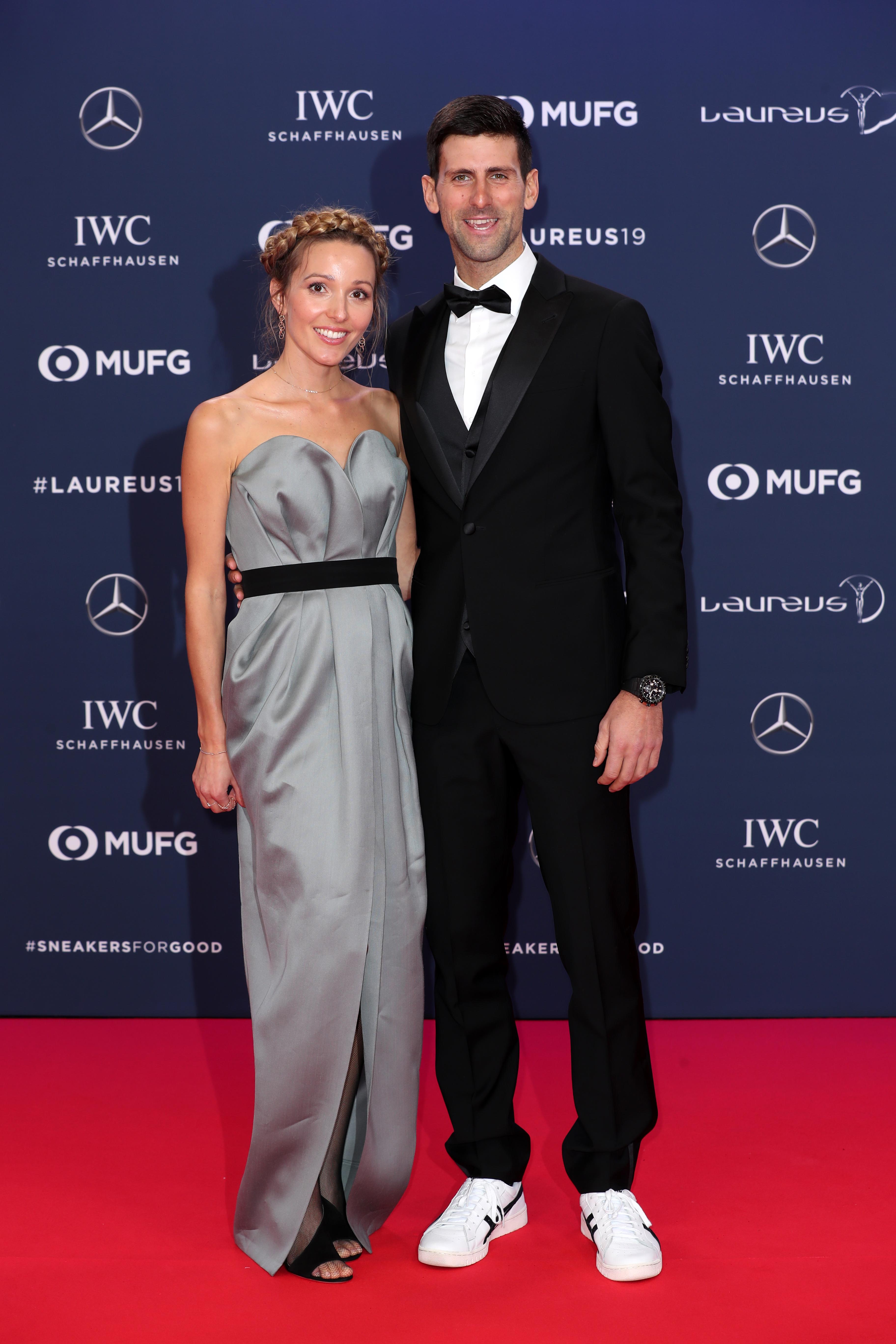 Сръбският тенисист Новак Джокович със съпругата си Йелена