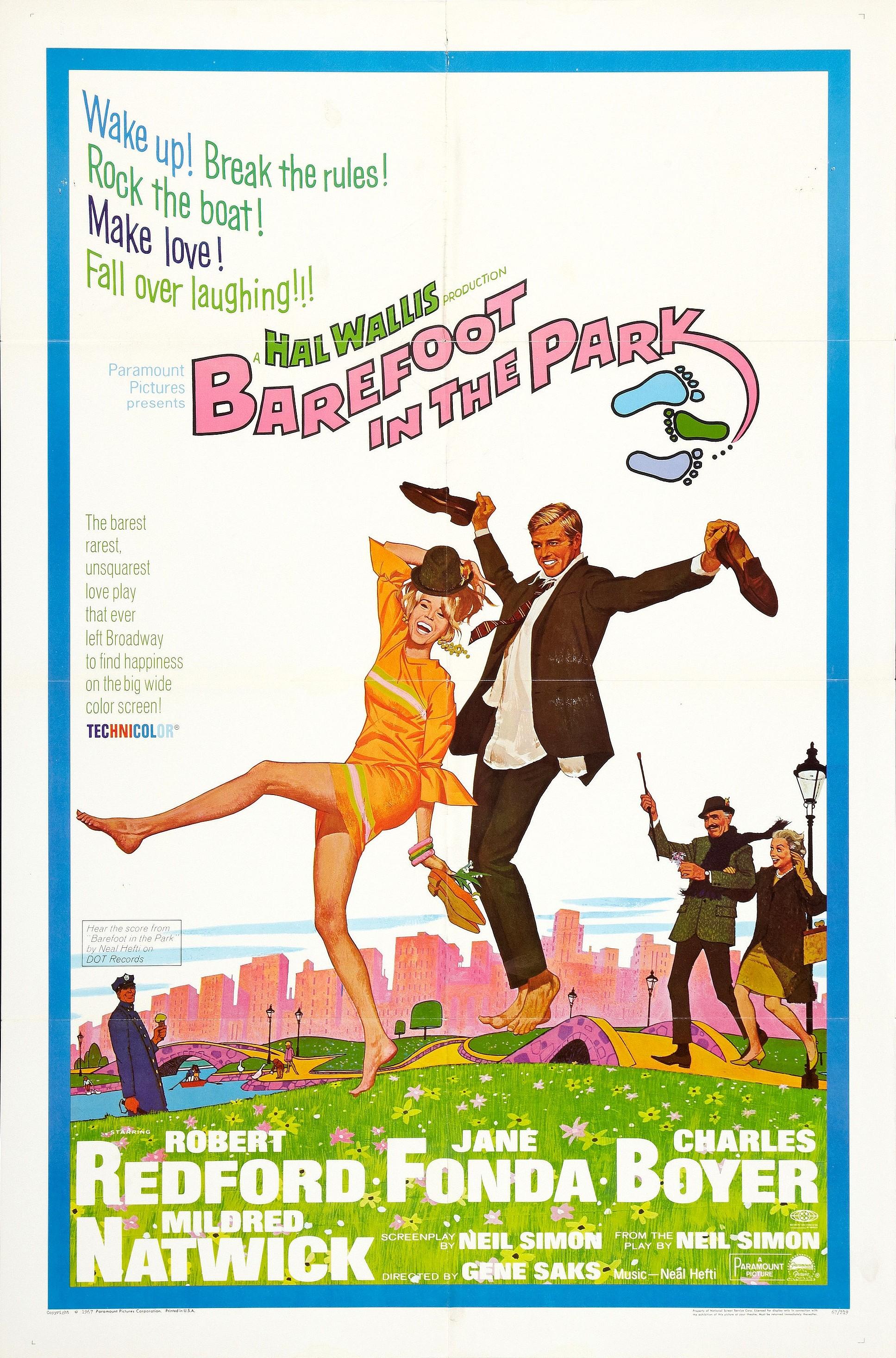 """Barefoot In The Park / """"Боси в парка"""" (1967) – Режисьор: Джийн Сакс; Участват: Робърт Редфорд, Джейн Фонда, Чарлс Бойър"""