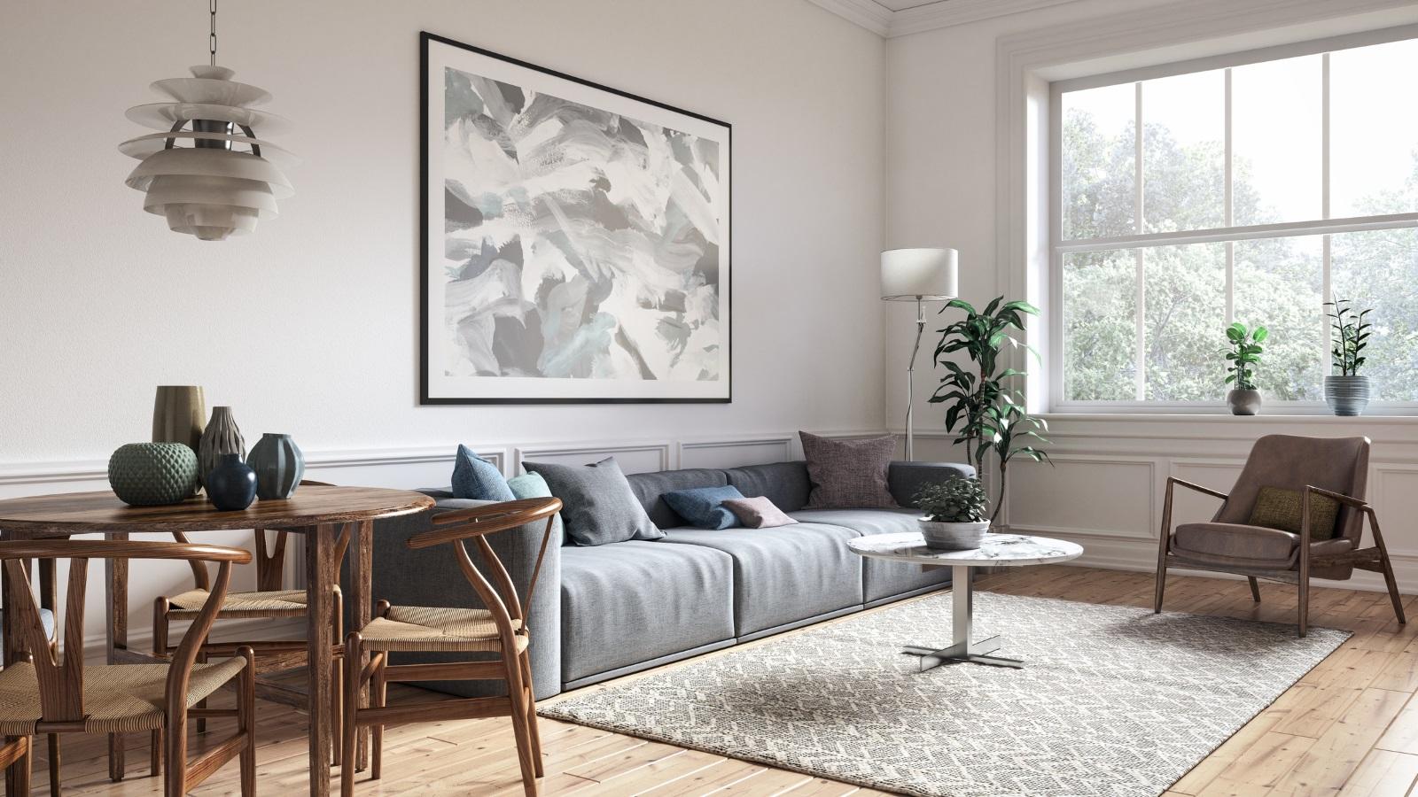 Избирането на килим<br /> Килимът в дневната трябва да е достатъчно голям, за да обхване всички мебели. Повечето хора го ползват по-скоро за декоративен елемент, а не търсят практичната му страна – той защитава пода от надраскване.