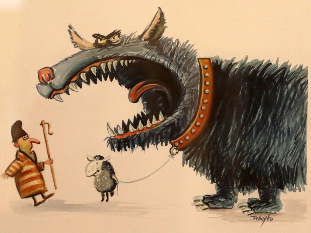 """Традиционната национална изложба """"Карикатура"""", бе открита на 1 април, на 4-ия етаж в галерията на ул. Шипка 6 на Съюза на българските художници. Трайко Попов"""