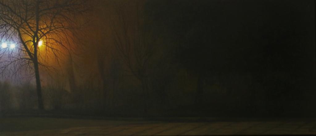 Мистичен вечерен пейзаж от градинката на Софийския университет.