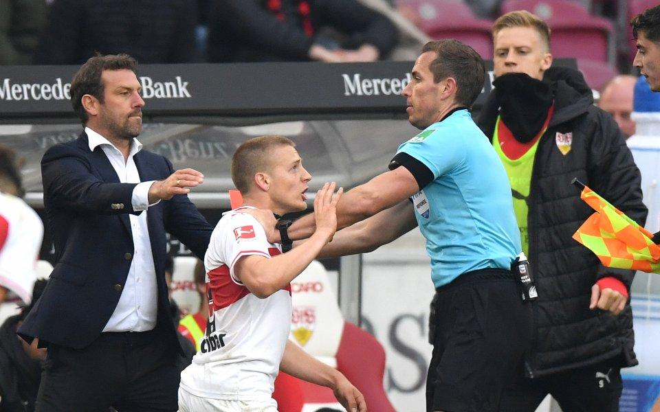 Наказаха играч на Щутгарт за шест седмици заради плюнка