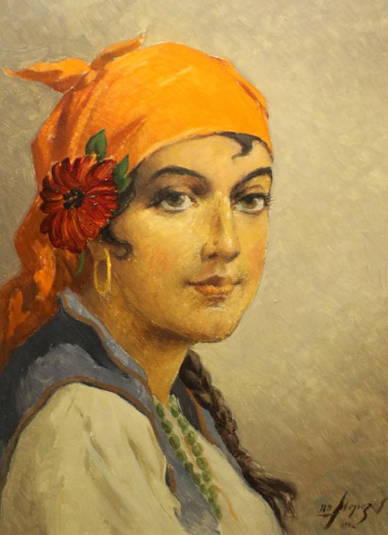 Петър Морозов Момиче със забрадка 1942г.