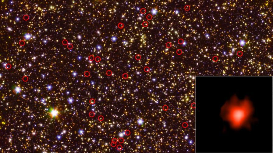 Древните галактики са оградени с червени кръгчета, а в ъгъла е увеличено изображение на една от тях