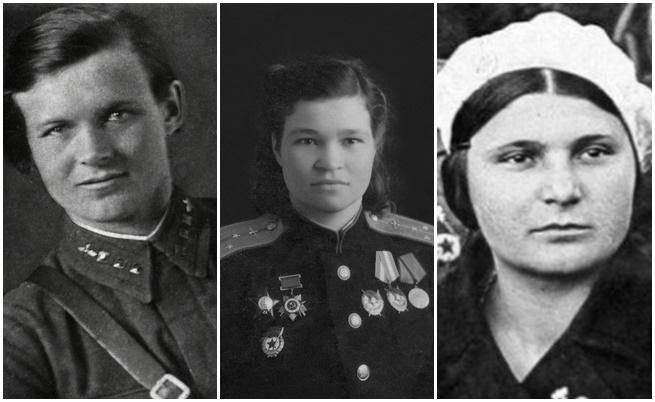 """Евдокия Бершанская, командир на полка, единствената жена, награждавана с оредн """"Суворов""""<br /> Ирина Себрова - изпълнила 1008 мисии, най-много от всички военни в полка<br /> Евдокия Носал - първата жена военен, наградена с """"Герой на Съветския съюз"""" и първата жена пилот, на която висшото почетно звание е дадено посмъртно"""