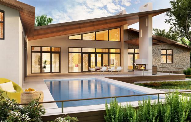 Къща с басейн извън града.