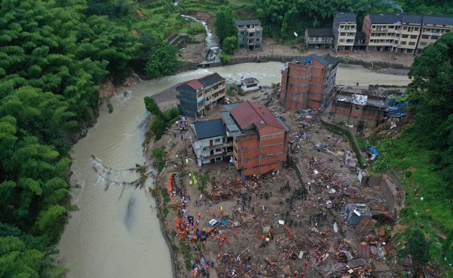 Китай, тайфун, свлачище