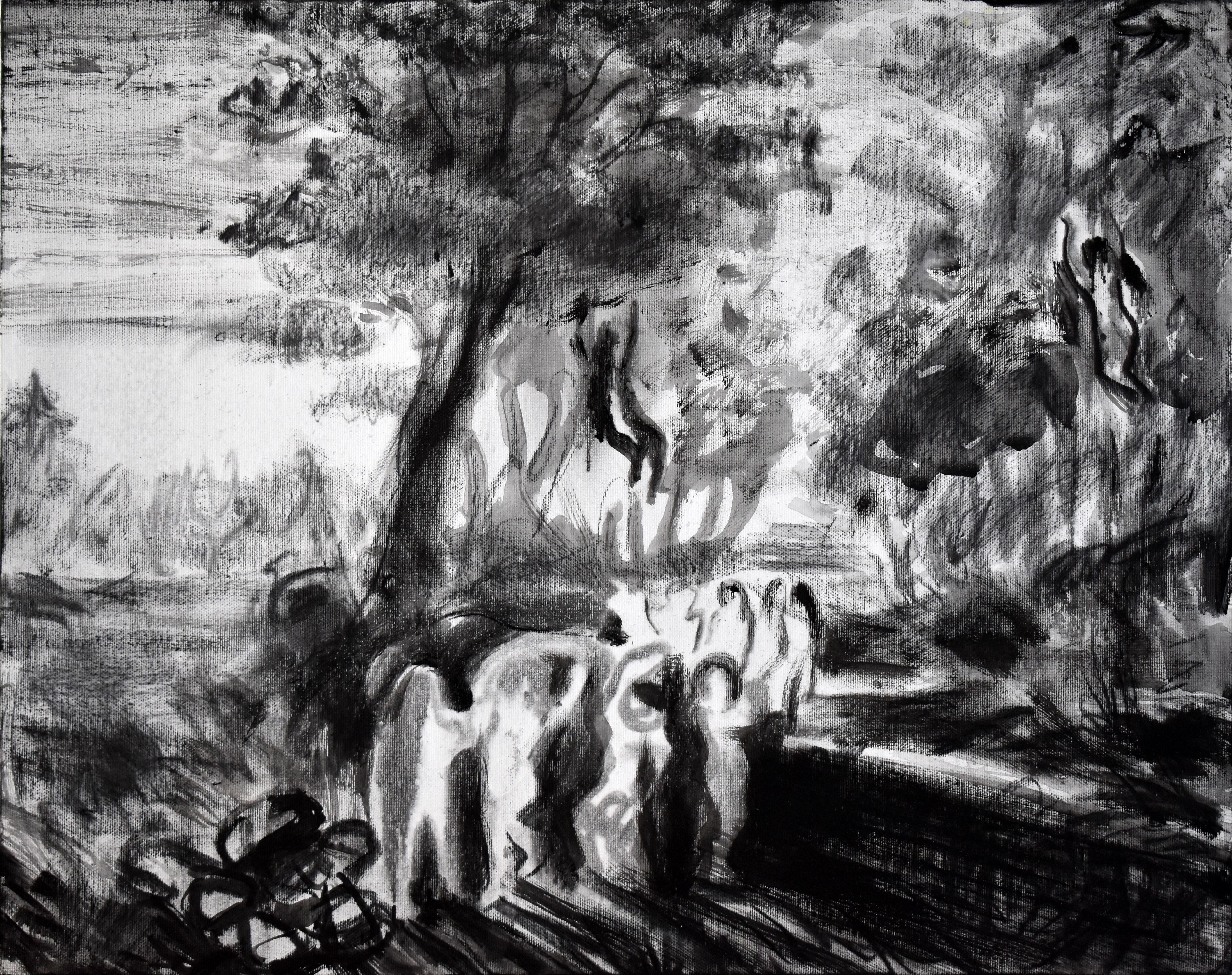 <p>Явор Костадинов - По &bdquo;Русалки&ldquo; (1875) от Георги Данчов - Зографина, 43х55 см, акрилни бои, естествен въглен върху платно,2019</p>