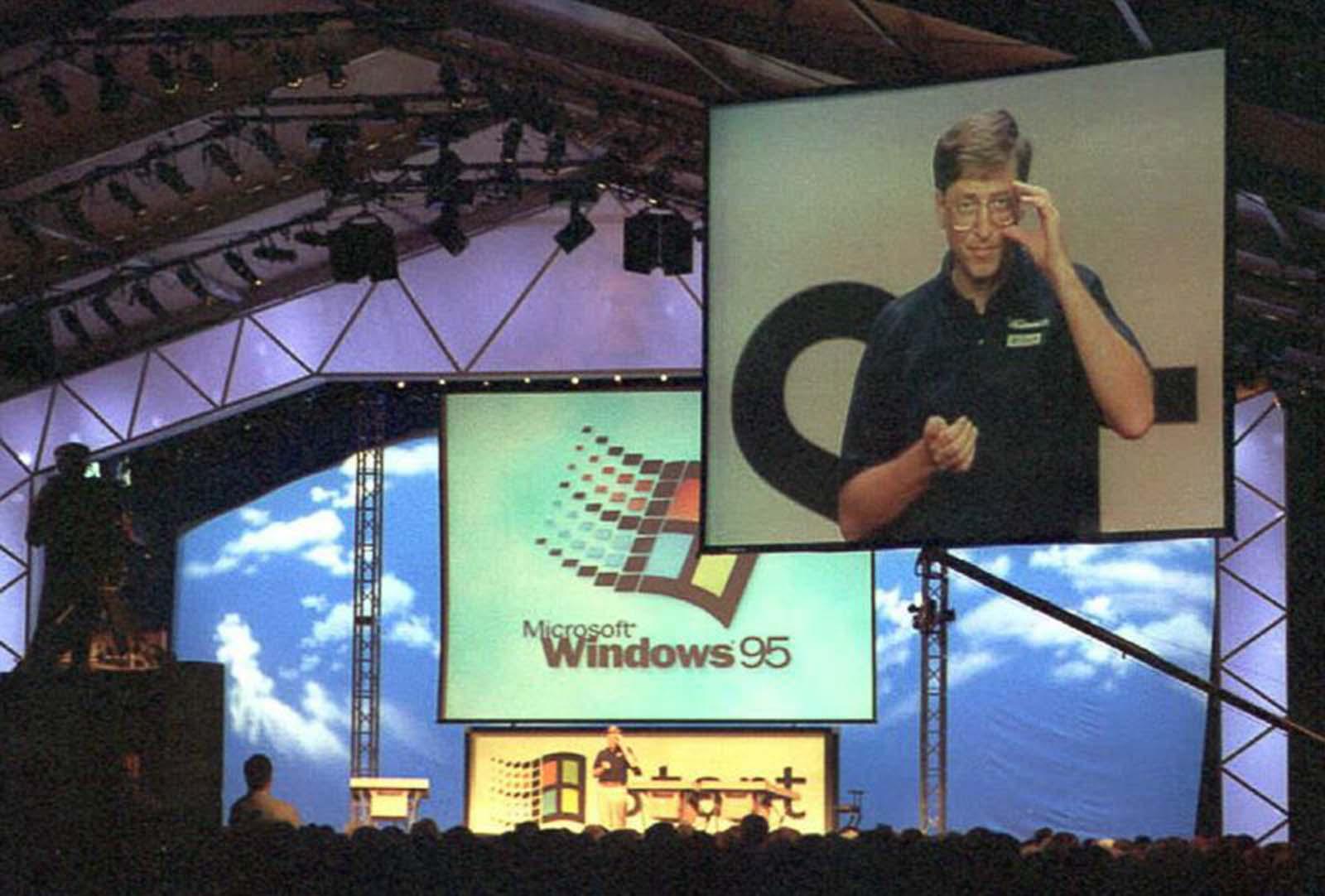 <p>Откриването на Windows 95 пред стотици хиляди в Редмънд, Вашингтон.</p>