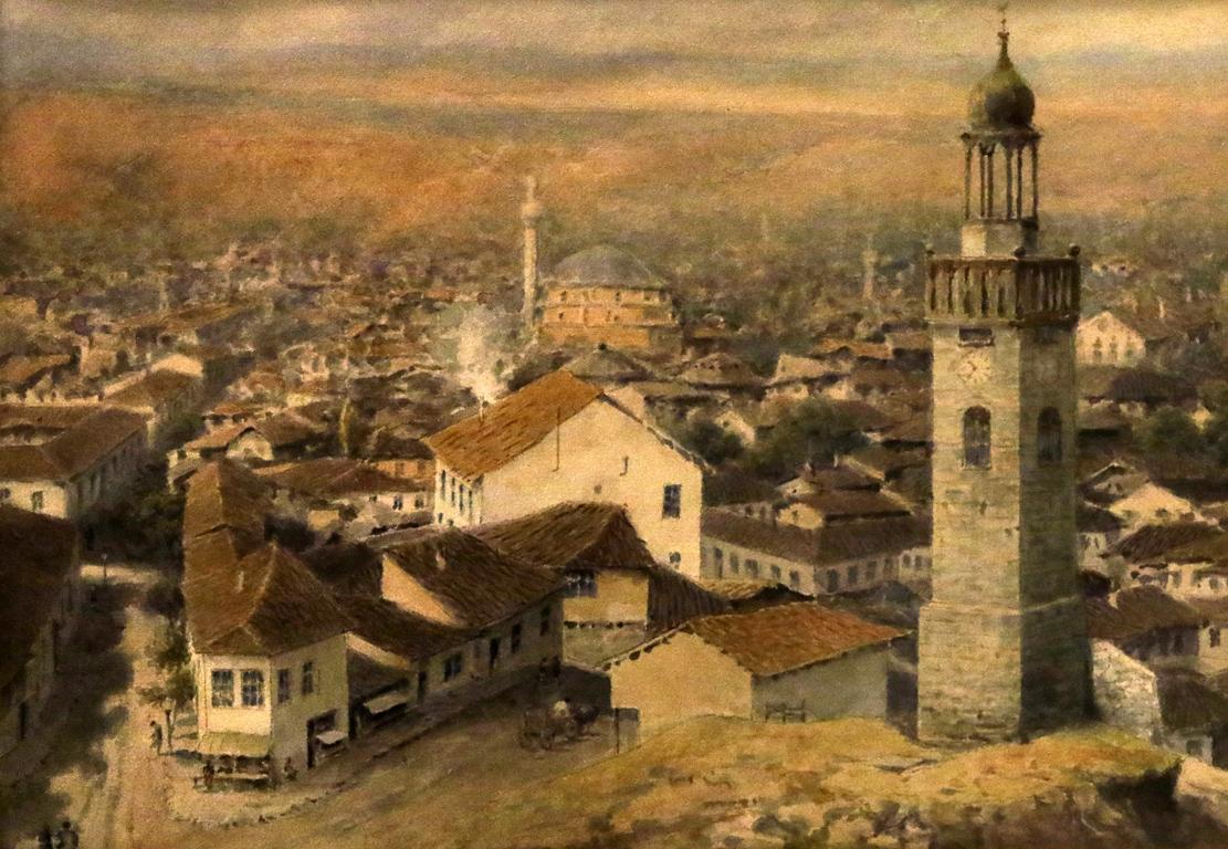 <p>Йосиф Обербауер - Изглед от София с часовниковата кула, 90 години на XIXв.</p>