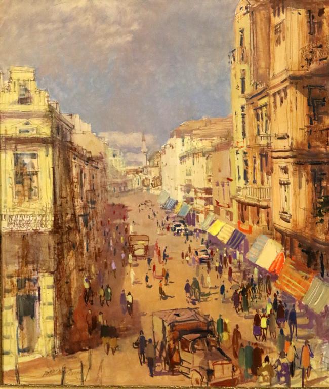 <p>Владимир Мански - Улица &quot;Търговска&quot; преди 1944г. /на мястото на ЦУМ, днес несъществуваща/</p>