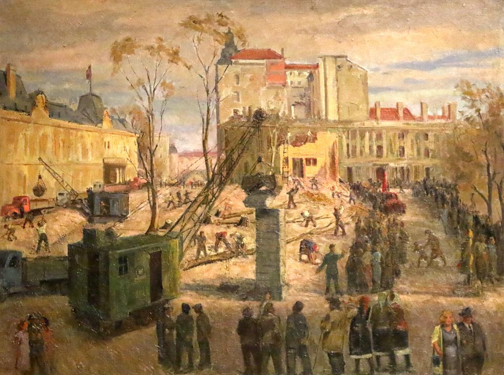 <p>Петър Вълчев - Събаряне оградата на двореца, 1945г.</p>