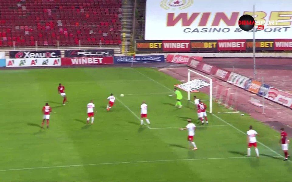 Нападателят на ЦСКА Жеферсон отбеляза третия гол, за да оформи