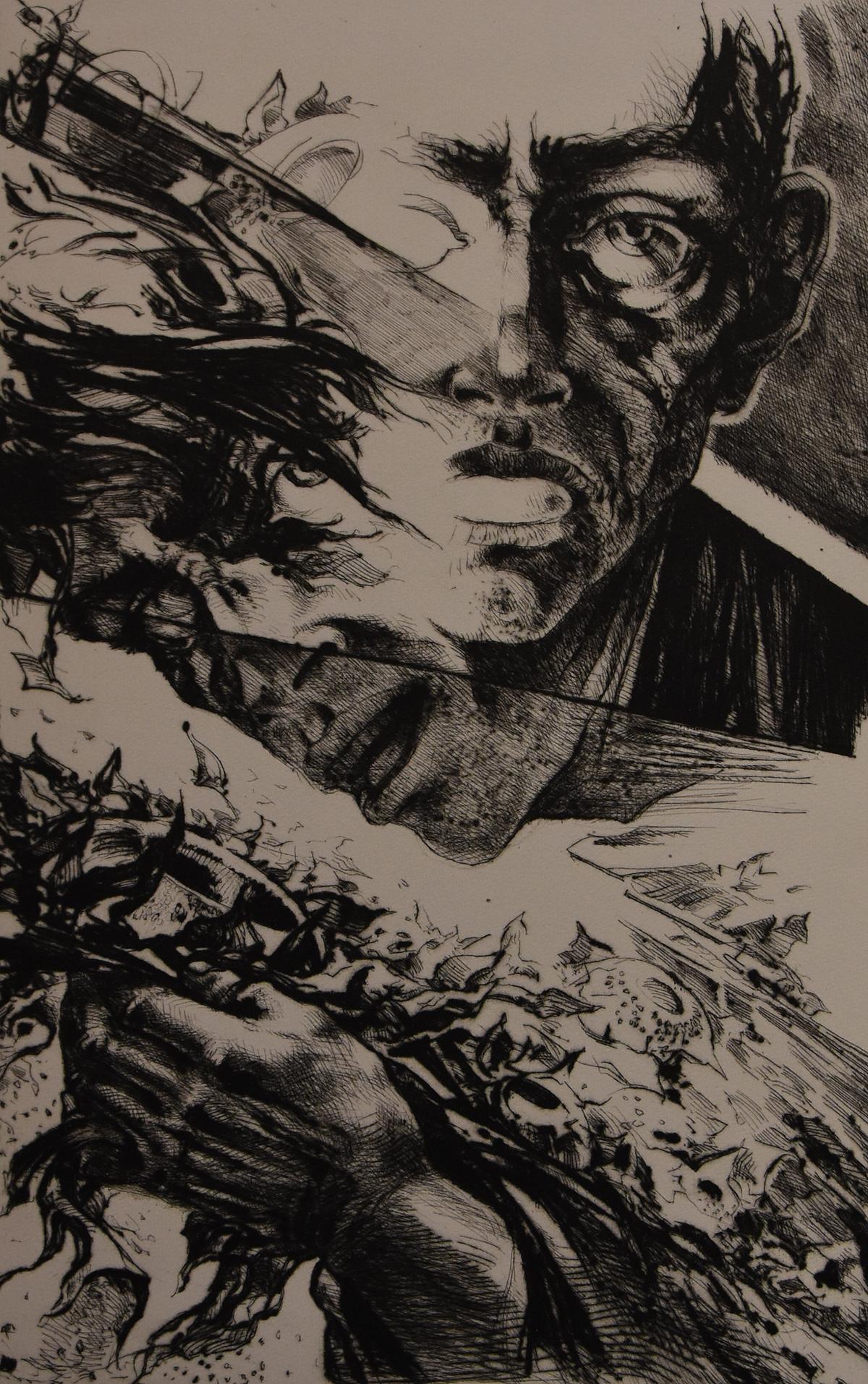 <p>Ческо Маньолато | Cesco Magnolato Паралел | Confronto офорт, суха игла I etching, drypoint</p>