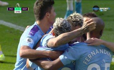 Унищожение! 5:0 за Ман Сити срещу Уотфорд след 18 минути игра