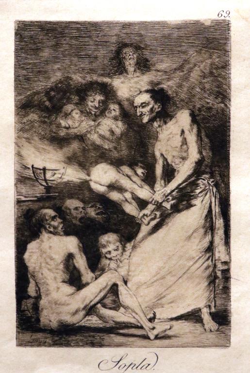<p>Франсиско Хосе Де Гоя и Лусиентес, Испания. Продухване Sopla. Лист 69 от цикъл &quot;Капричос&quot; офорт, акватинта</p>