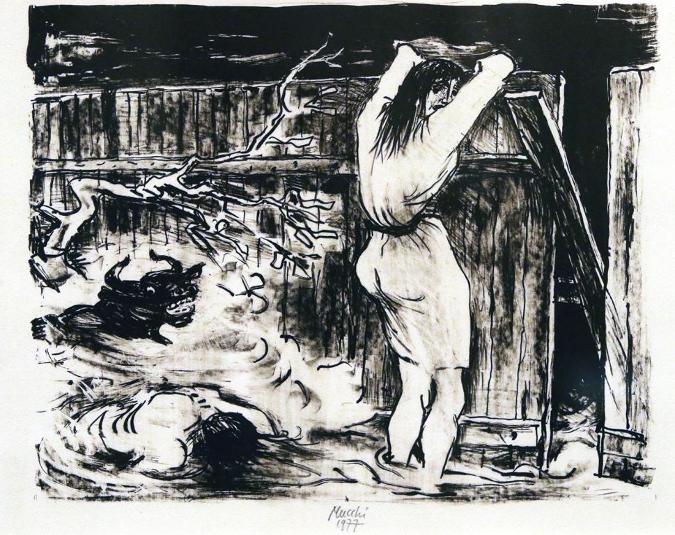 <p>Габриеле Муки, Италия. Бедствие, 1977, литография</p>