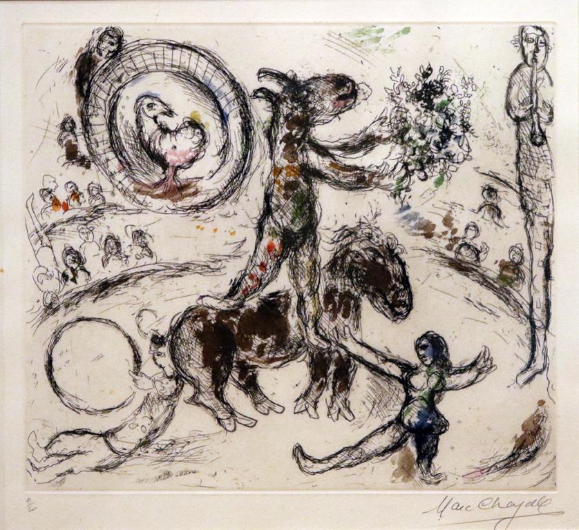 <p>Марк Шагал, Русия/Франция. Цирк, цветен офорт</p>