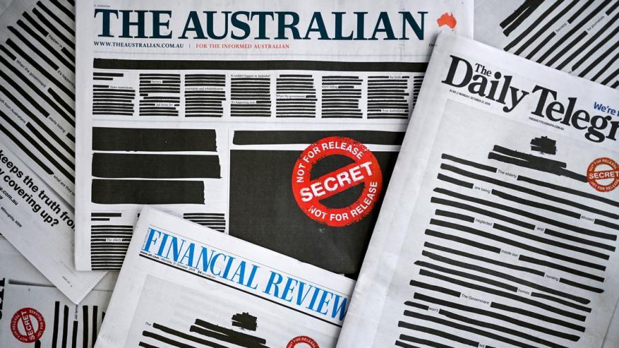 Австралийските вестници на протест срещу...
