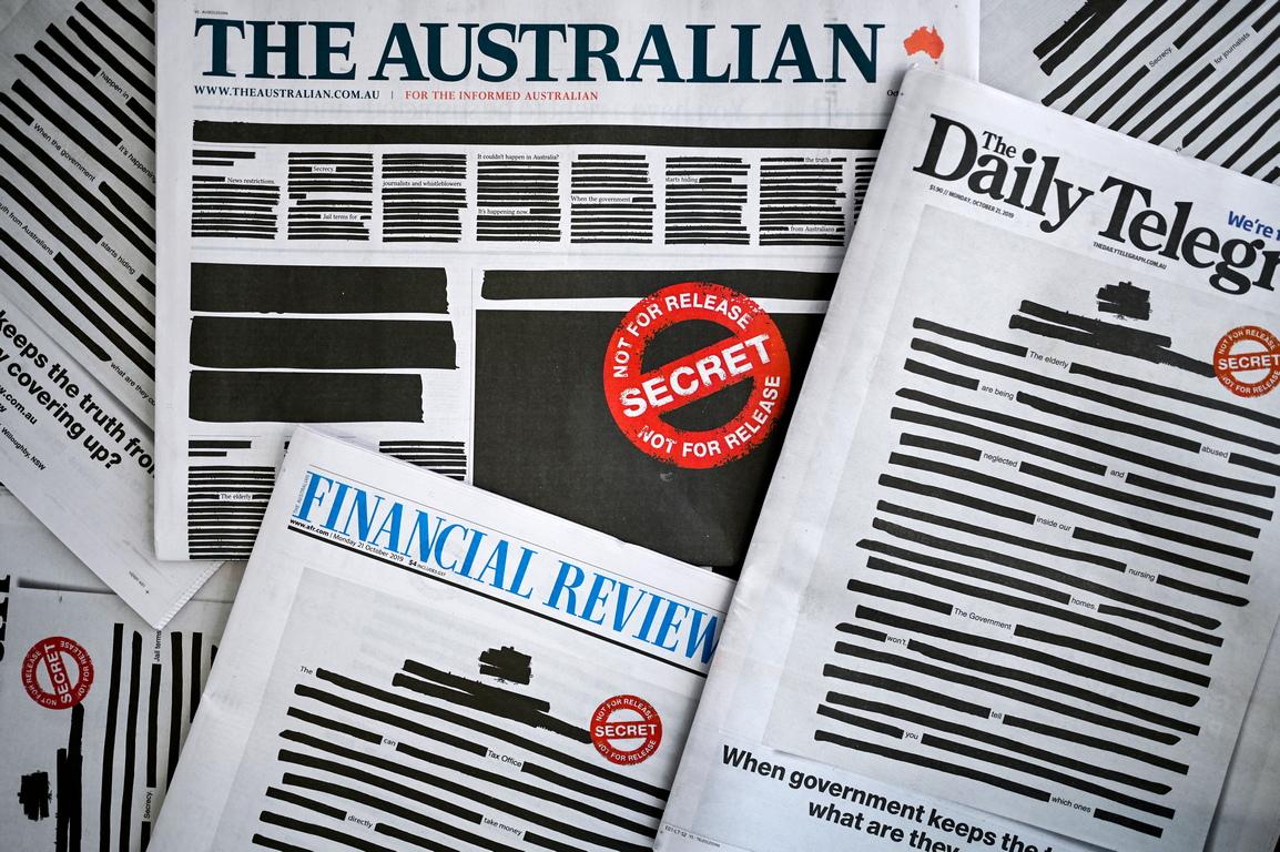 <p>Водещи австралийски вестници излязоха с първи страници, на които някои от думите са задраскани, в координиран протест срещу склонността на правителството да пази тайни, която често се обяснява със съображения, свързани с националната сигурност, предаде Асошиейтед прес, цитирана от БТА.</p>