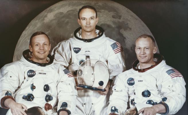 """От ляво надясно - Нийл Армстронг, Майкъл Колинс, Едуин """"Бъз"""" Олдрин"""