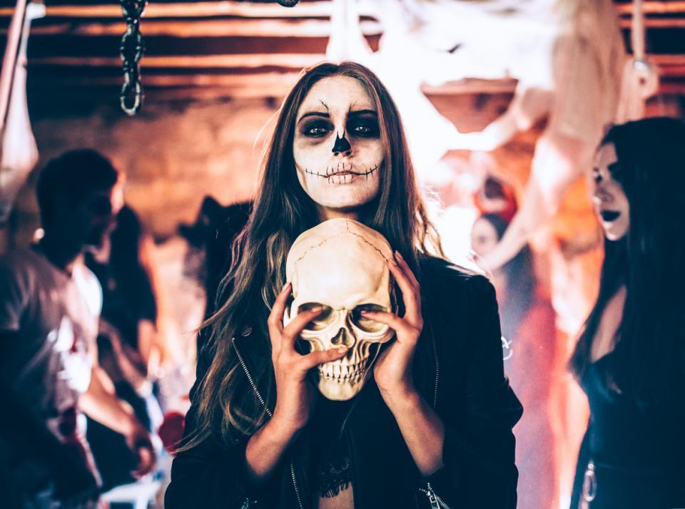 Хелоуин маска костюм череп жена