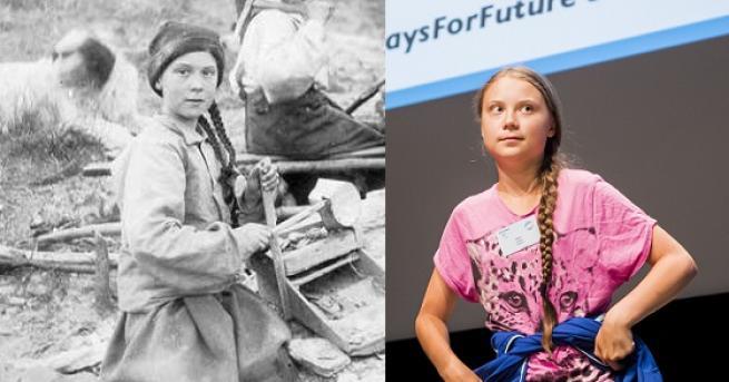 Любопитно Снимка на 120 години с двойничка на Грета разбуни