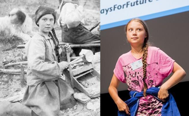 Снимка на 120 години с двойничка на Грета разбуни интернет