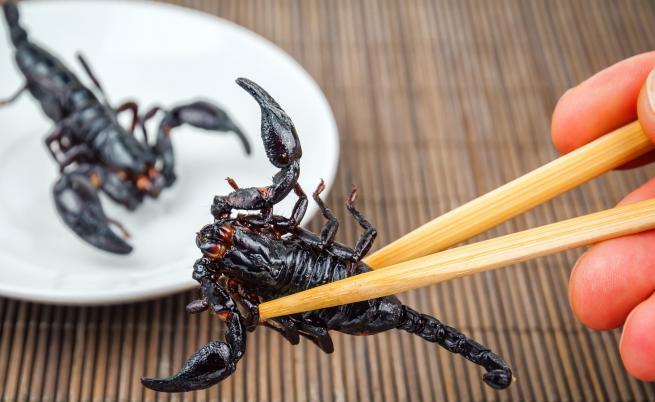Ресторант предлага ястия от скорпиони и тарантули