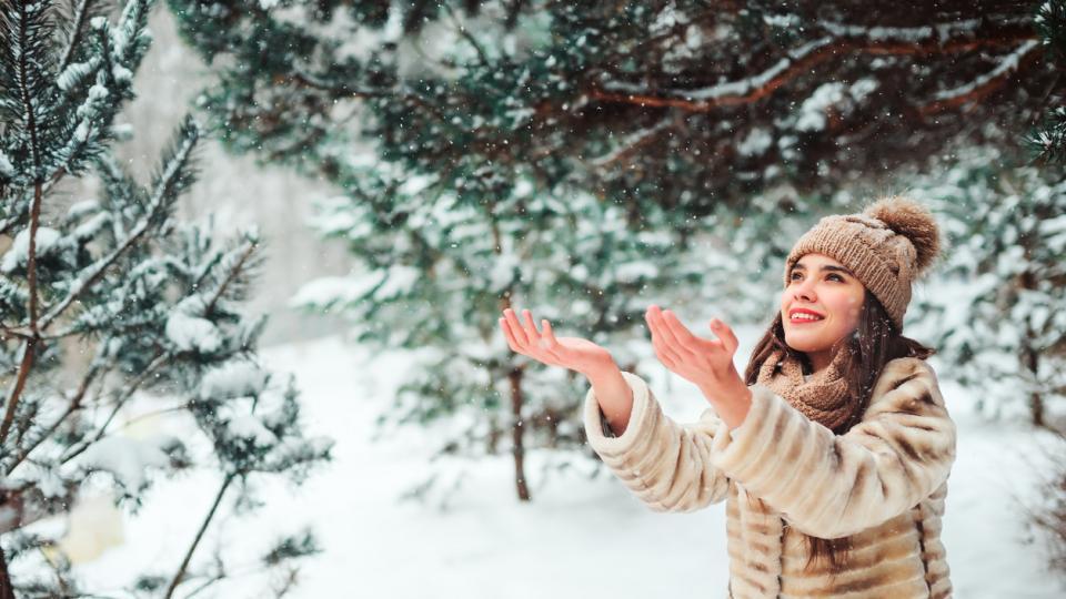 сняг зима коледа жена двойка
