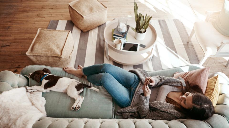 жена диван куче почивка кафе чай