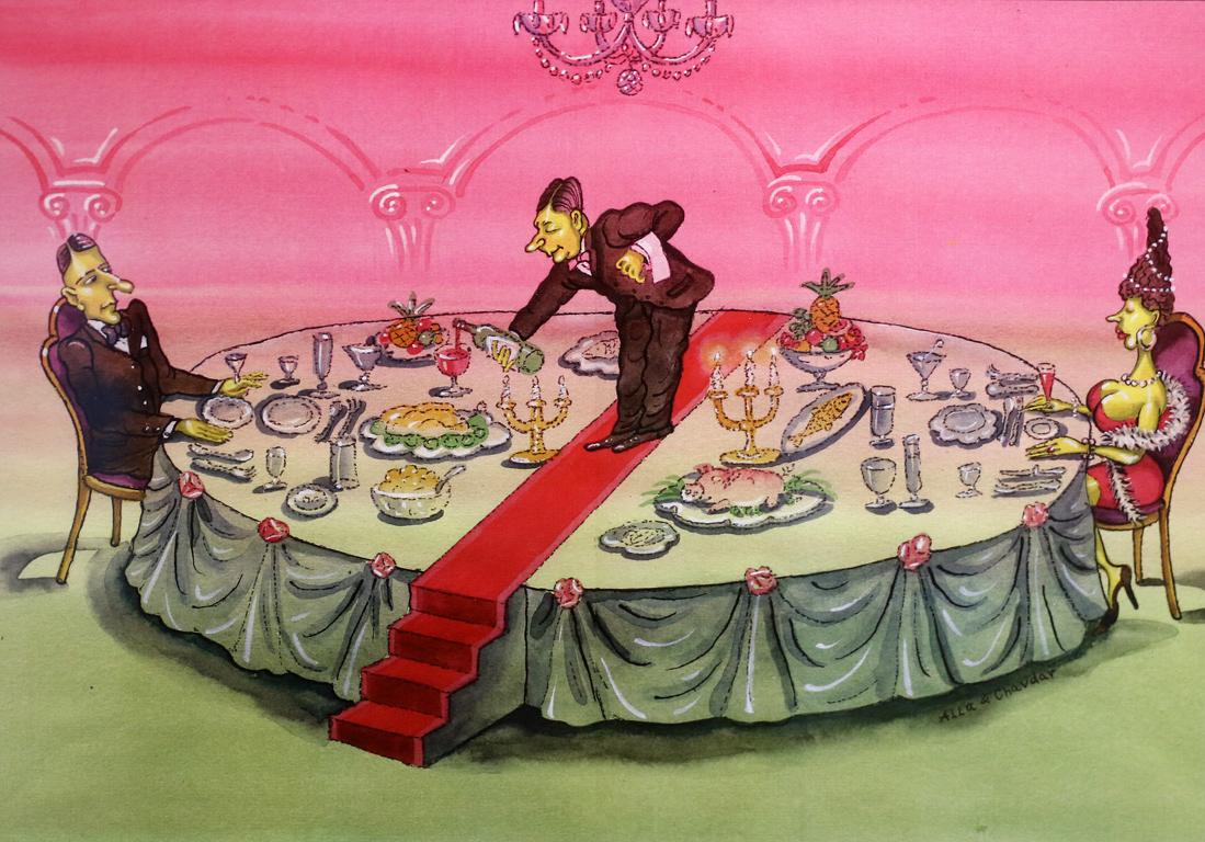 <p>Алла и Чавдар Георгиеви Сервитьор върху маса</p>