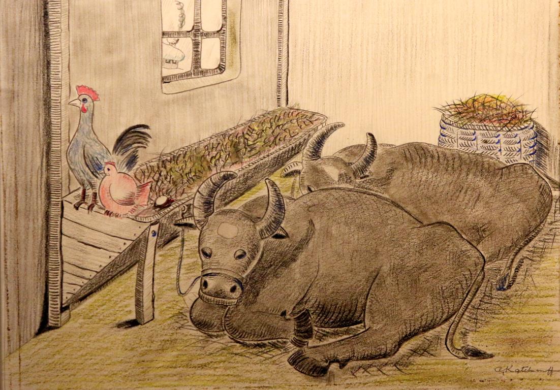 <p>Биволите си почиват в обора. По цели дни те преживят и дремят.</p>  <p>През дългата зима техни неканени гости са кокошките. Те кълват дребни зрънца, които биволите изпускат.</p>  <p>От време на време те изненадват своите черни домакини с белоснежни яйчица.</p>  <p>Биволите не ядат яйца. Децата обичат яйцата...и биволите</p>