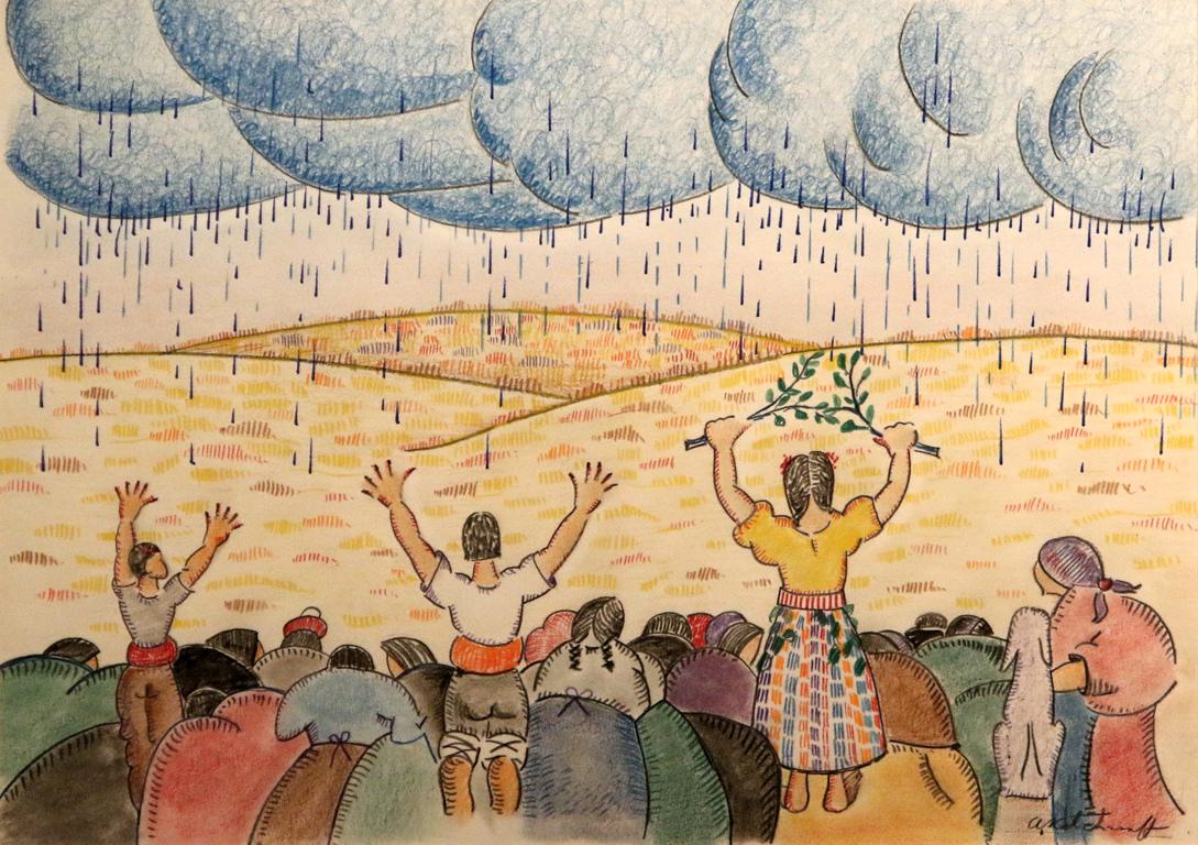 <p>Появилите се облаци не са буреносни, а са изпълнени с ценна влага. Дъждовните облаци забулват небето. Дъждът се втурва надолу, подобно на искрящи водопади.Едрите капки, блестят като сини бисери. Всяка капка носи живот, водата ще напои нивята.</p>  <p>Достигнали земята, многото милиони капки тупват и се вдигат миниатюрни живи вулкани.Земният прах и летният дъжд изпълват охладения въздух с незабравим дъх, истински дъх на живота.</p>  <p>Пеперудата на дъжда ни възражда за нашия хляб насъщен.</p>