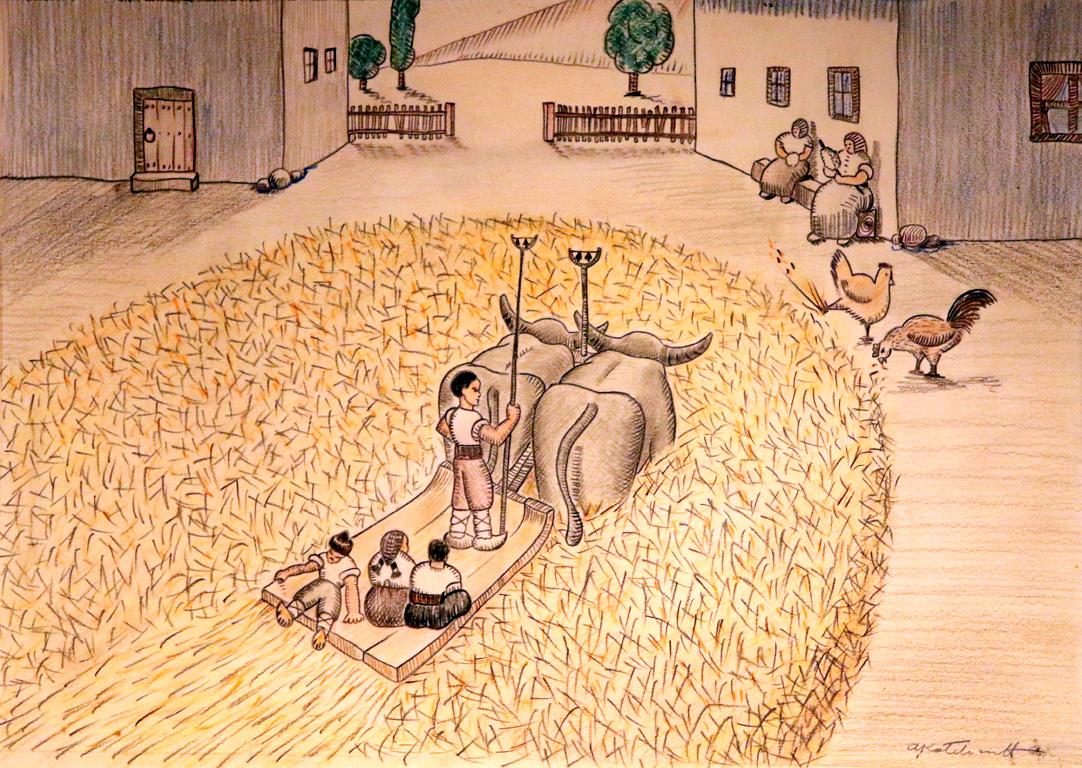 <p>Златните късове са пръснати като слънчеви лъчи по целия двор.</p>  <p>До колене в житото, биволите влачат диканята напред и назад и извършват вършитбата.</p>  <p>За момчетата и момичетата това е време за радост и забава.</p>